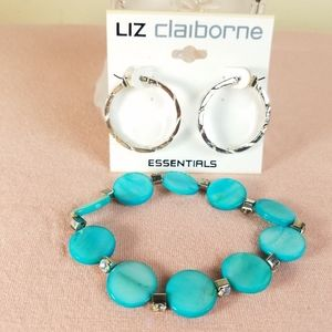 Liz claiborne silver earrings and Turquoise bracel